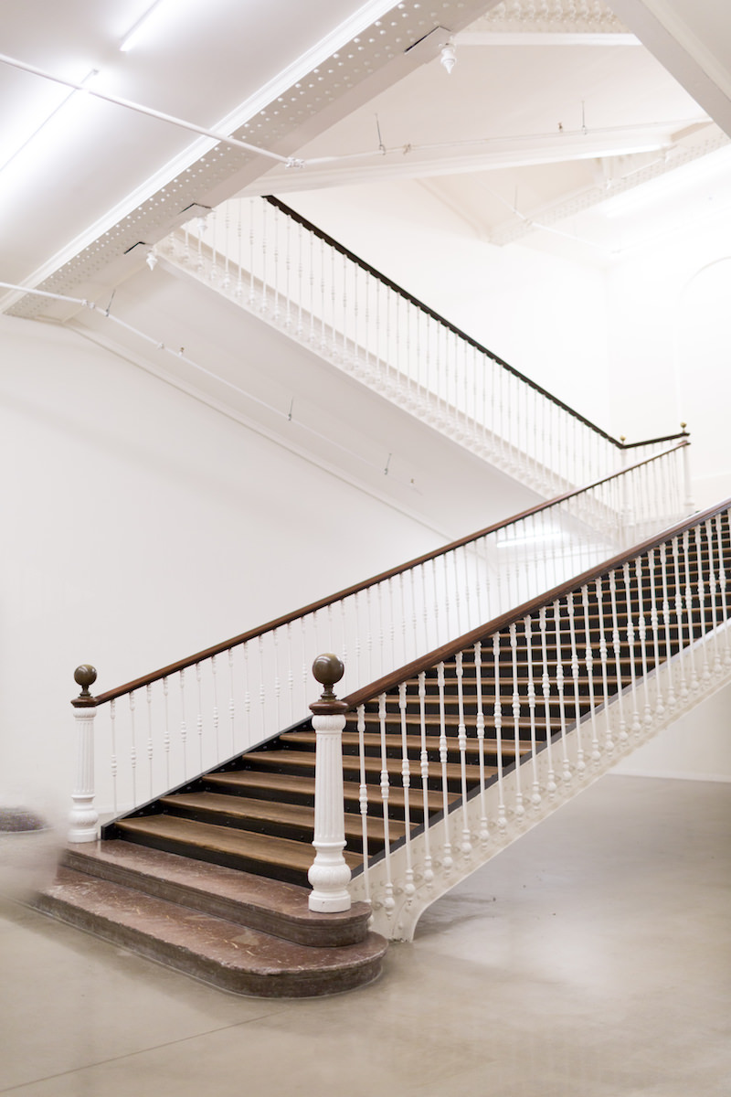 Las escaleras de la antigua fabrica tabakalera de San Sebastián
