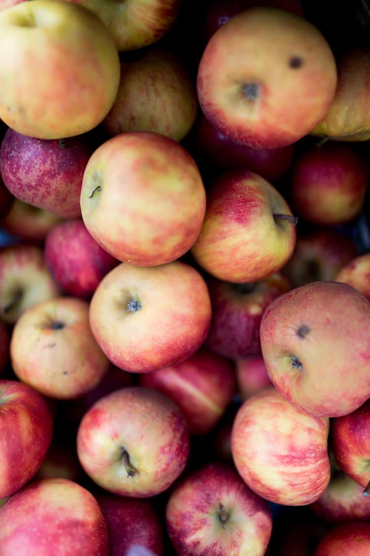 Manzanas traidas de los caserios de alrededor al mercado